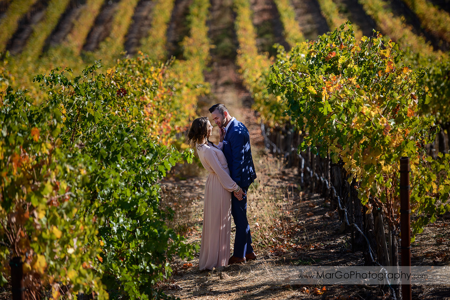 woman in pink dress and man in blue suit standing in the middle of vineyard during Napa Valley engagement session at Castello di Amorosa in Calistoga