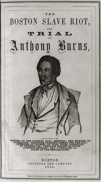 . Title page of Boston slave riot, and trial of Anthony Burns with half-length portrait of Anthony Burns. 1854.  Library of Congress
