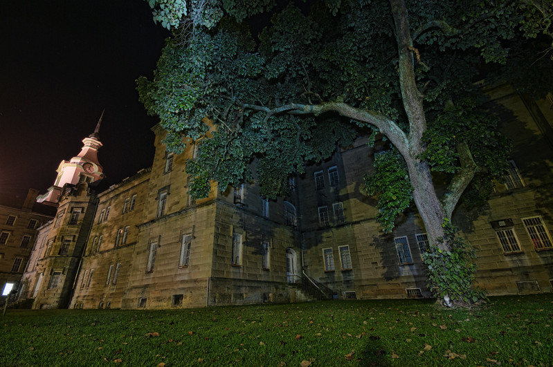 Very long exposure outside the Kirkbride building - there's a cat down by the tree that I didn't even notice till I looked at the capture afterward