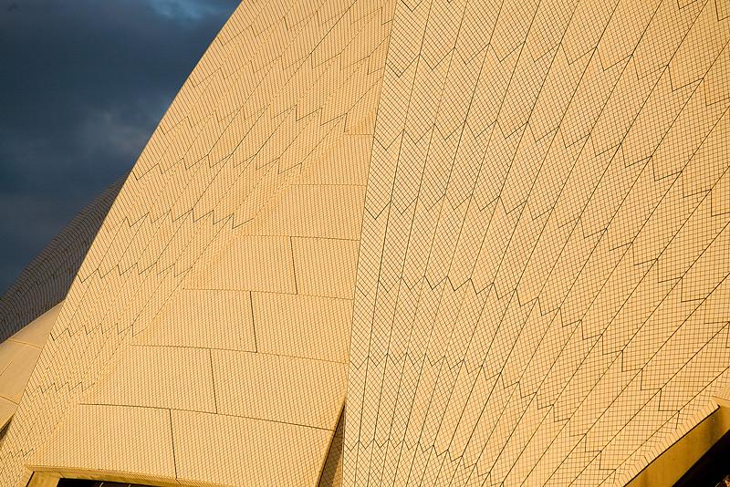 Die Kacheln der Sydney Oper in der Abendsonne