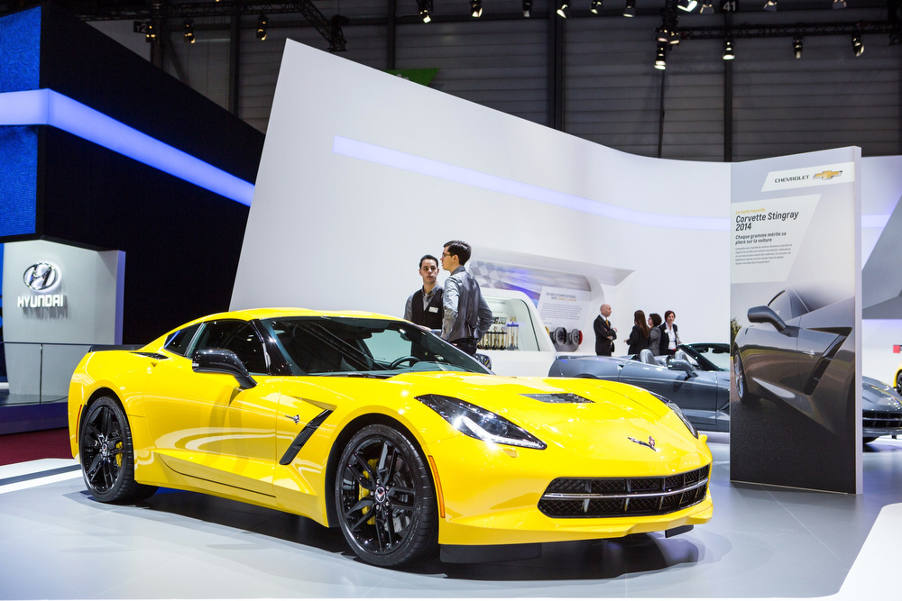 Description of . The 2014 Chevrolet Corvette Stingray is presented at the Geneva Motor Show in Geneva, Switzerland, on March 4, 2014. AFP PHOTO / PIERRE ALBOUYPIERRE ALBOUY/AFP/Getty Images