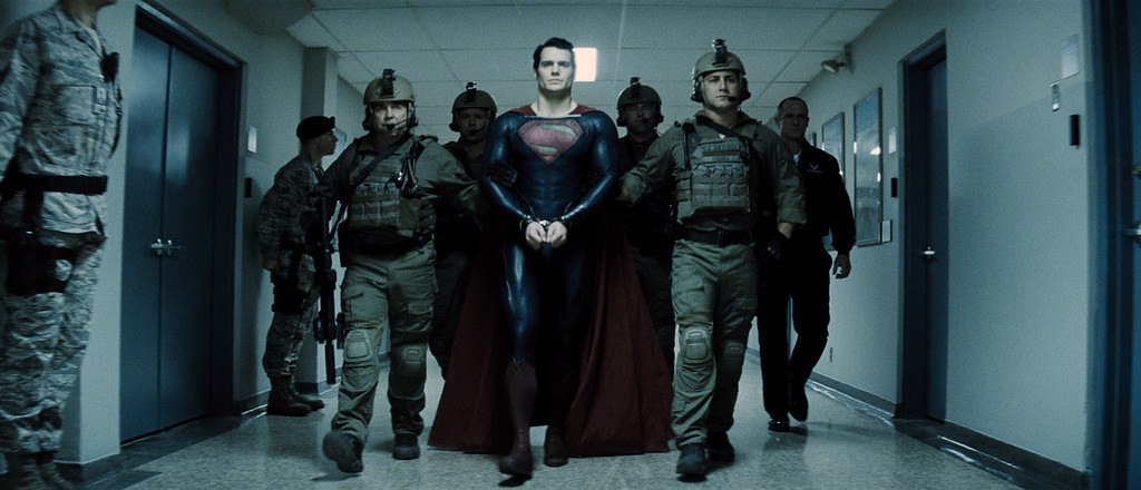 """. HENRY CAVILL (center) as Superman and CHRISTOPHER MELONI (far right) as Colonel Hardy in Warner Bros. Pictures� and Legendary Pictures� action adventure \""""MAN OF STEEL,\"""" a Warner Bros. Pictures release."""