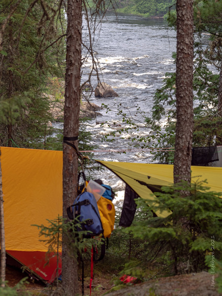 Tents above Bazett Rapids
