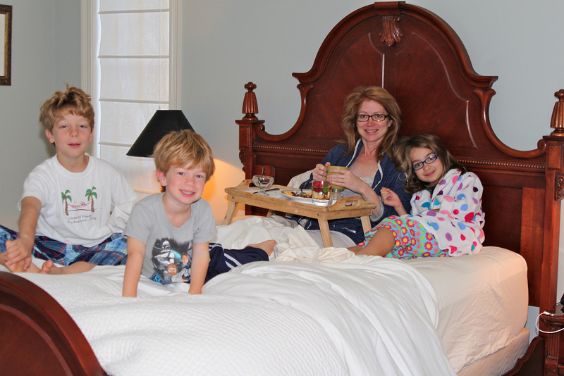 """Breakfast in bed is very """"relaxing."""" Happy 40th, Mama."""