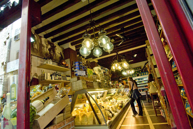 Inside a cheese and wine shop in Florence, Italy