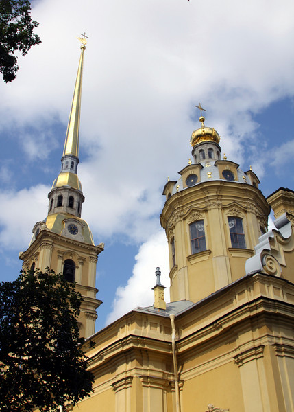 Peter and Paul Fortress - Peter and Paul Cathedral,showing part of the Bell Tower and the cathedral.