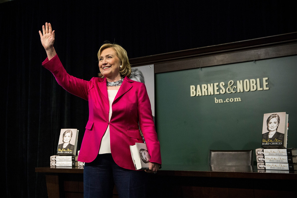 ". Former Secretary of State Hillary Clinton speaks to a crowd during a book signing for her new book, ""Hard Choices\"" at a Barnes & Noble on June 10, 2014 in New York City. (Photo by Andrew Burton/Getty Images)"
