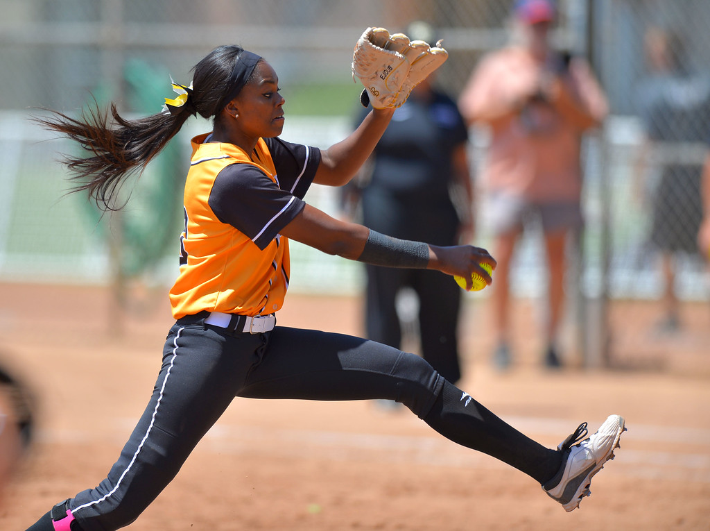 . LBSU\'s Erin Jones-Wesley pitches in the 3rd as LBSU lost to Cal Poly softball 3-0 in Long Beach, CA on Sunday, May 4, 2014.  (Photo by Scott Varley, Daily Breeze)