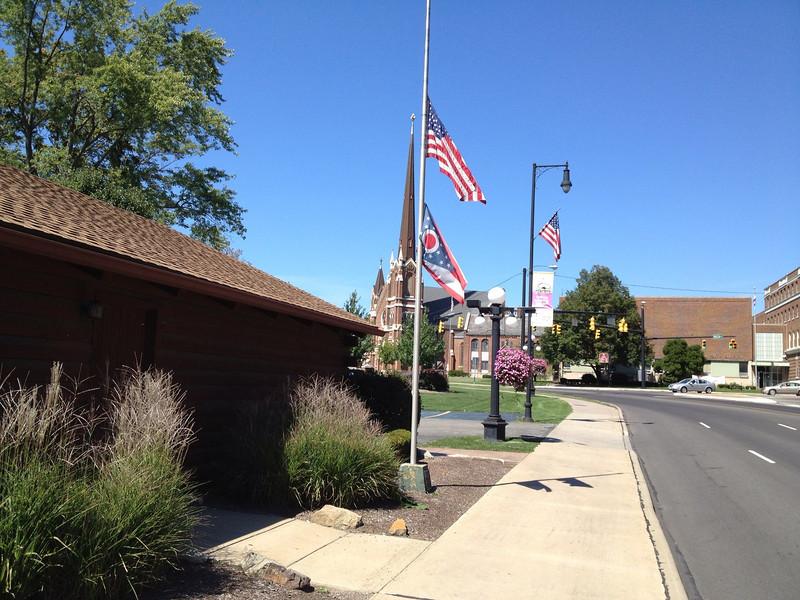 Neil Armstrong rememberance Ohio flag at half mast.jpg