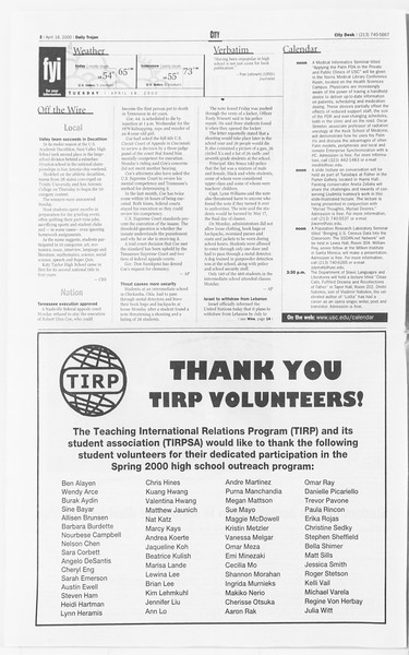 Daily Trojan, Vol. 139, No. 60, April 18, 2000