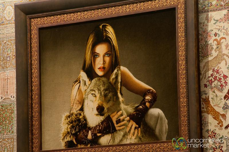 Woman and Wolf Iranian Rug