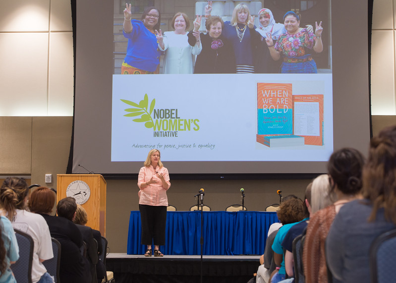 "Rachel Vincent, editor of ""When We Are Bold,"" addresses students during a book talk and presentation in the University Center."