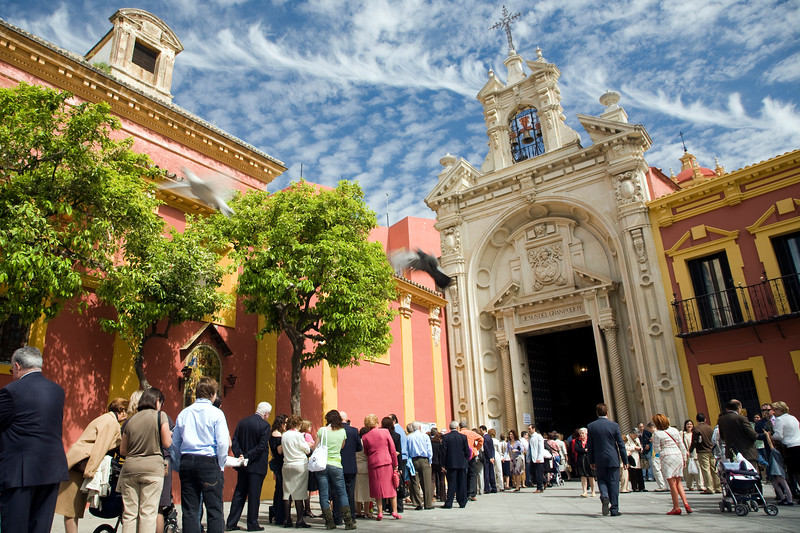 Queue of people waiting to worship Jesus del Gran Poder on Palm Sunday, Seville, Spain
