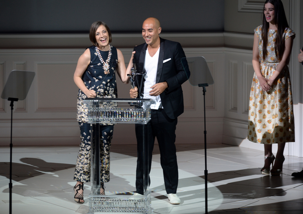 . Winner of the Swarovski Womenswear Designer of the Year, Erin Beatty (L) and Max Osterweis for Suno attend the 2013 CFDA Fashion Awards on June 3, 2013 in New York, United States.  (Photo by Theo Wargo/Getty Images)