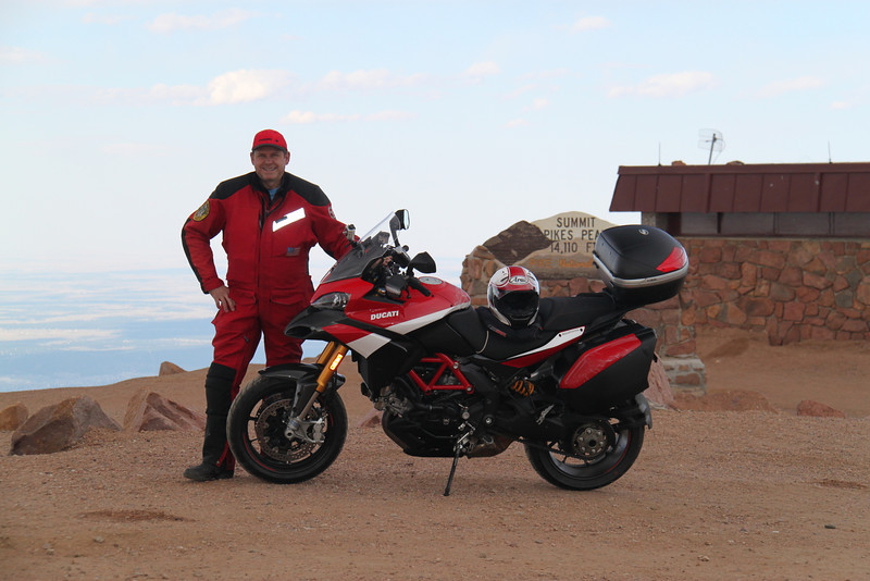 6/6 - Photo by Multistrada 1200 PP owner and ducati.ms forum member 'Duc PP' (aka Greg) - Greg at the top of Pikes Peak....sign in the background;-)