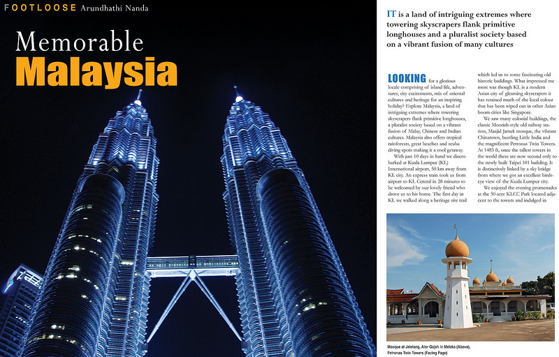 "Footloose: ""Memorable Malaysia"" article by Anu (Arundhathi) and pictures by Suchit (Nanda) in the BTW Magazine (By The Way) 03rd Sept 2007 issue. 