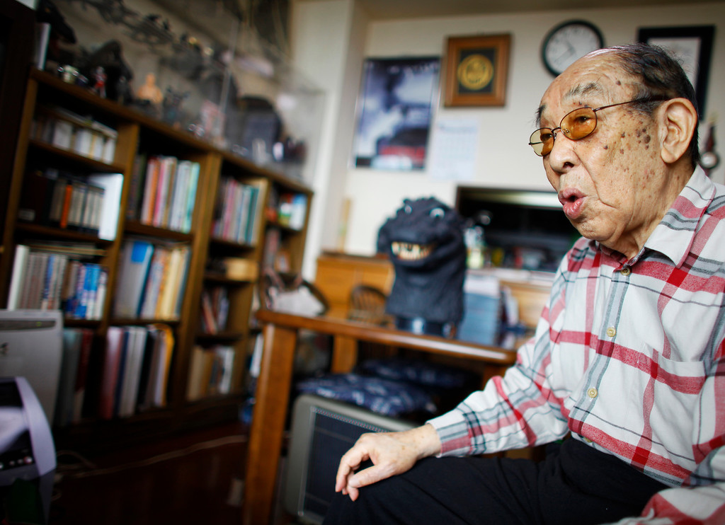. FILE- In this April 28, 2014 photo, original Godzilla suit actor Haruo Nakajima, who has played his role as the monster, speaks during an interview at his home in Sagamihara, near Tokyo. Nakajima, the actor who stomped in a rubber suit to portray the original 1954 Godzilla, died Monday, Aug. 7, 2017. He was 88. (AP Photo/Junji Kurokawa, File)