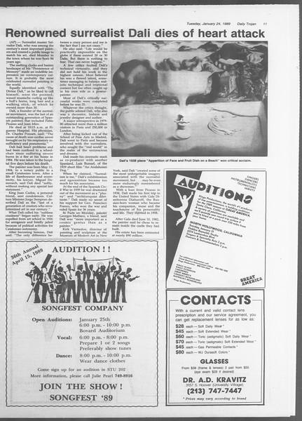 Daily Trojan, Vol. 108, No. 8, January 24, 1989