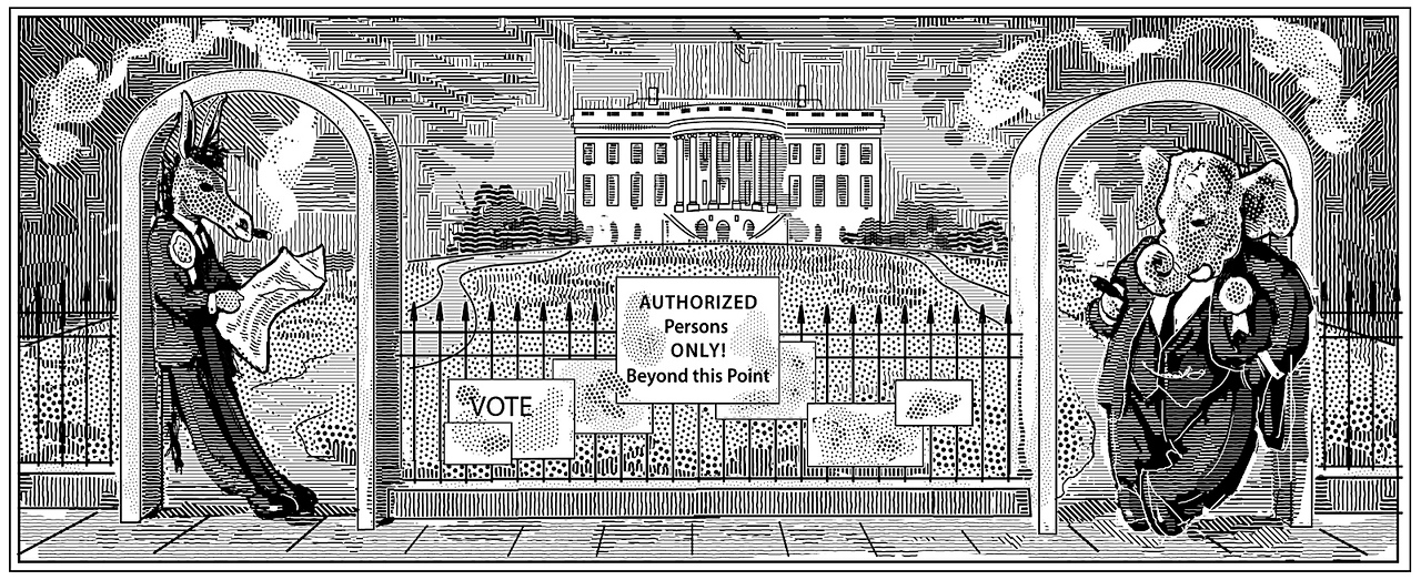 Illustration for an essay by James W. Ceaser, in the CRB, Fall 2008 issue. The subject is primary selection of candidates for the US presidency.