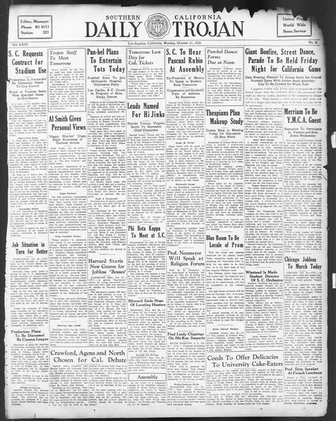 Daily Trojan, Vol. 24, No. 36, October 31, 1932
