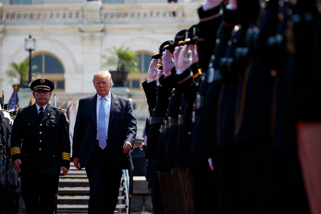 . President Donald Trump arrives for the 37th annual National Peace Officers Memorial Service on Capitol Hill, Tuesday, May 15, 2018, in Washington. (AP Photo/Evan Vucci)