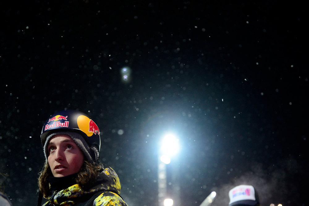 Description of . ASPEN, CO. - JANUARY 24: Greg Bretz stands on the deck during the men's Snowboard Superpipe elimination. Men's Snowboard Slopestyle elimination X Games Aspen Buttermilk Mountain Aspen January 24, 2013 (Photo By AAron Ontiveroz / The Denver Post)