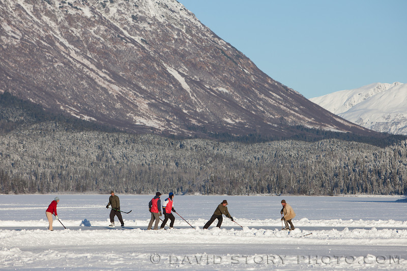 Ice hockey on Trail Lake. Moose Pass, AK.