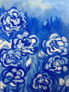 """""""Blue Flowers"""" (acrylic on canvas) by Emma Farley"""