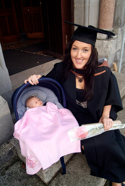 Grace Mulhall, Ballinakill Downs, Waterford and her baby daughter Sofia Lof as Grace graduated with a BA (Hons) in Marketing.