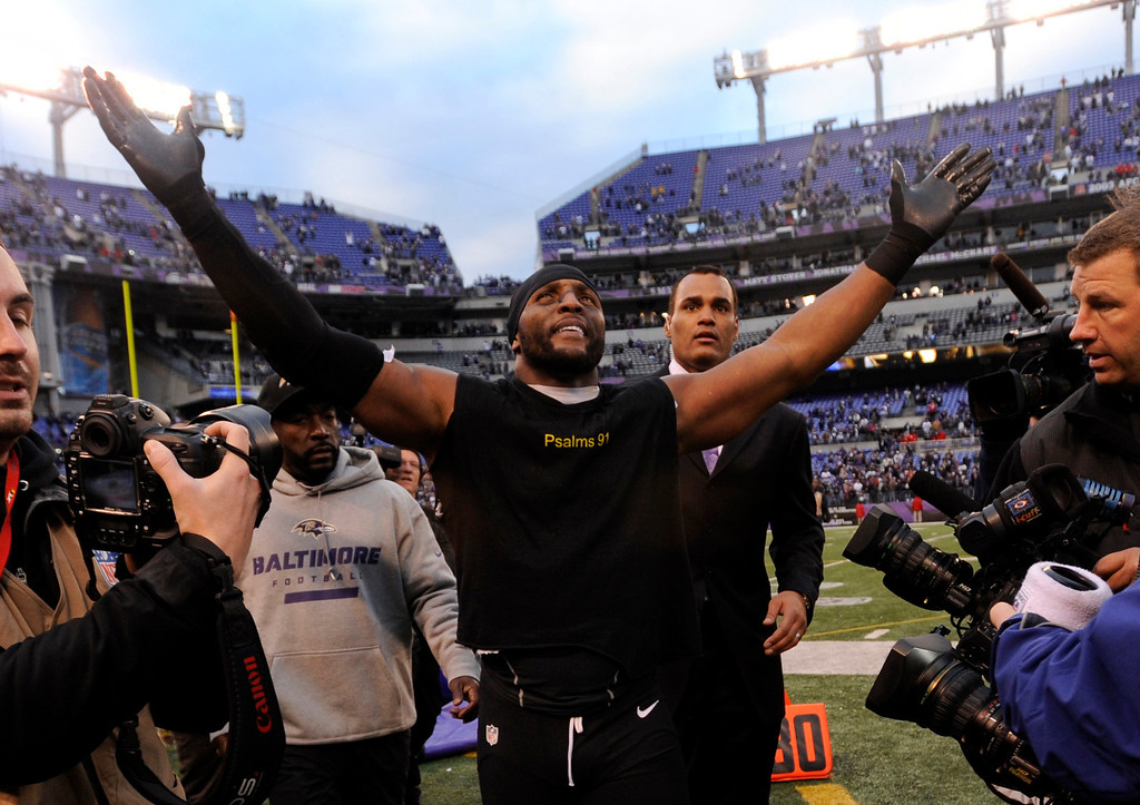 . Baltimore Ravens inside linebacker Ray Lewis celebrates after an NFL wild card playoff football game against the Indianapolis Colts Sunday, Jan. 6, 2013, in Baltimore. The Ravens won 24-9. (AP Photo/Gail Burton, File)