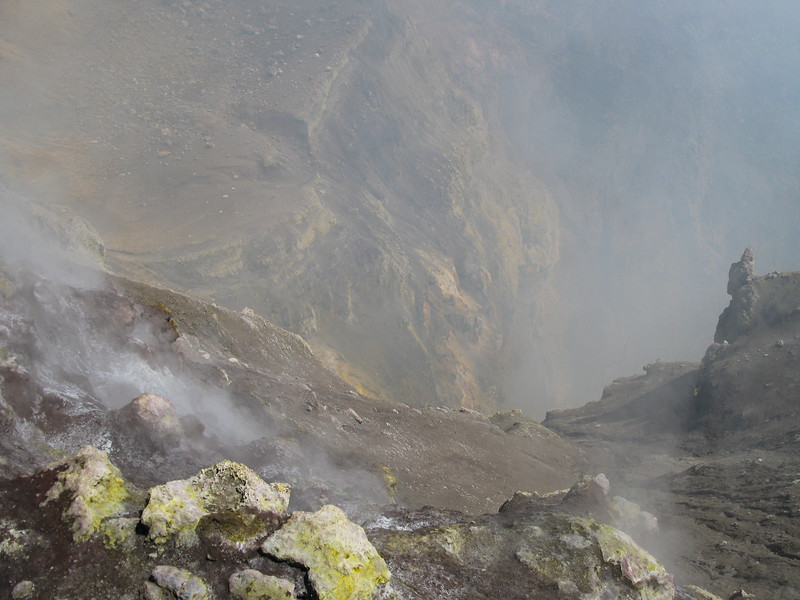 Looking into the crater