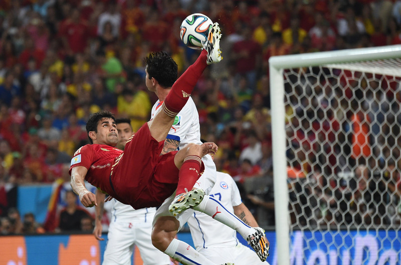 . Spain\'s forward Diego Costa plays the ball during a Group B football match between Spain and Chile in the Maracana Stadium in Rio de Janeiro during the 2014 FIFA World Cup on June 18, 2014.  (CHRISTOPHE SIMON/AFP/Getty Images)