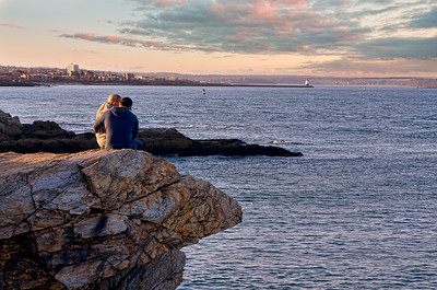 Enjoying, sunset, Fort Williams, lifestyle, couple, love, clouds, sky, cape elizabeth, maine, lighthouse, lighthouses, atlantic ocean, water, island, islands, coast, coastal