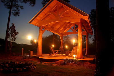 Gazebo lit by full moon