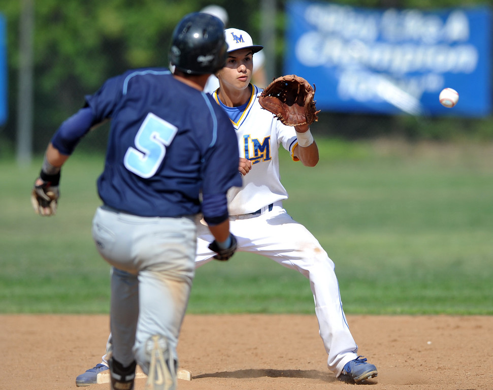 . La Mirada shortstop Noah Hutchings (#7) receives the ball to force out Los Osos\' Brenden Cagle (#5) at second base in their CIF quarterfinal baseball game at La Mirada High School on Friday May 24, 2013. Los Osos beat La Mirada 8-5. (SGVN/Staff Photo by Keith Durflinger)