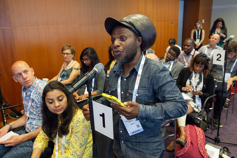 The Netherlands, Amsterdam, 25-7-2018. Press conference: The future of HIV funding: the public, questions. Chamunorwa Mashoko, acticidst from Zimbabwe, Advocacy Core Team.Photo: Rob Huibers for IAS. (Please publish always with complete attribution).