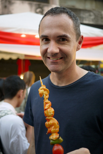 James and some street food at the Chinese New Year festivities in Chiang Mai, Thailand.