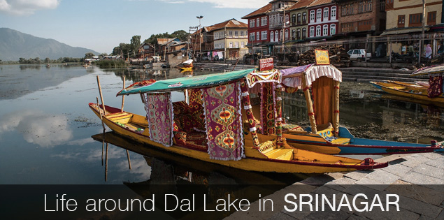 Tourist attractions around Dal lake in Srinagar, Kashmir