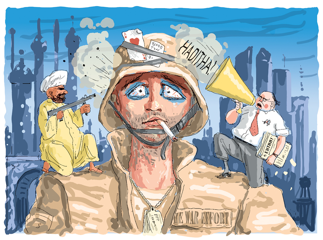 """""""Battle Fatigue"""" published June 8, 2006. The big story at the time was the alleged atrocity committed by US troops at Haditha; so the Marines were getting hammered from both sides. The central image was inspired by a well known photo of the time."""