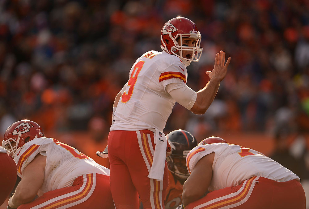 . Kansas City Chiefs quarterback Brady Quinn (9) calls a play at the line as the Denver Broncos took on the Kansas City Chiefs at Sports Authority Field at Mile High in Denver, Colorado on December 30, 2012. John Leyba, The Denver Post