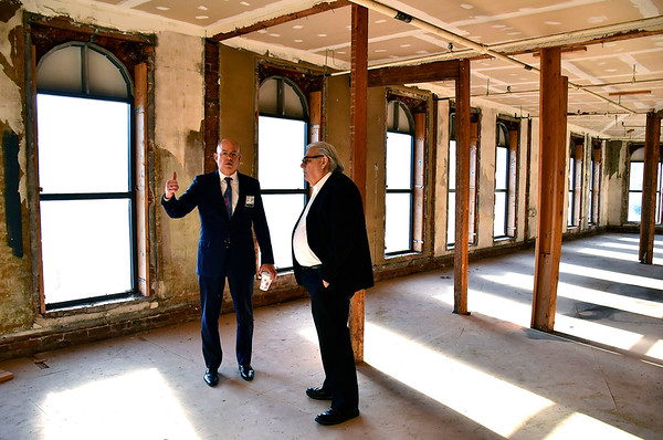 11/6/2019 Mike Orazzi | Staff Bristol Hospital President and CEO Kurt Barwis meets with Lockwood Development Partners' Charles Everhardt at the corner of Main and Prospect Streets in what will be transformed into housing for veterans in downtown Bristol.