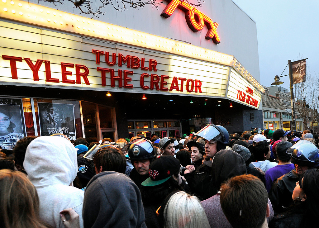 . Boulder Police officers dressed in riot gear work to keep the crowd under control during a disturbance at the Fox Theater on Monday, March 11, in Boulder. Boulder Police responded with riot gear to keep the fans of the band Tyler the Creator under control.  Jeremy Papasso/Boulder Daily Camera