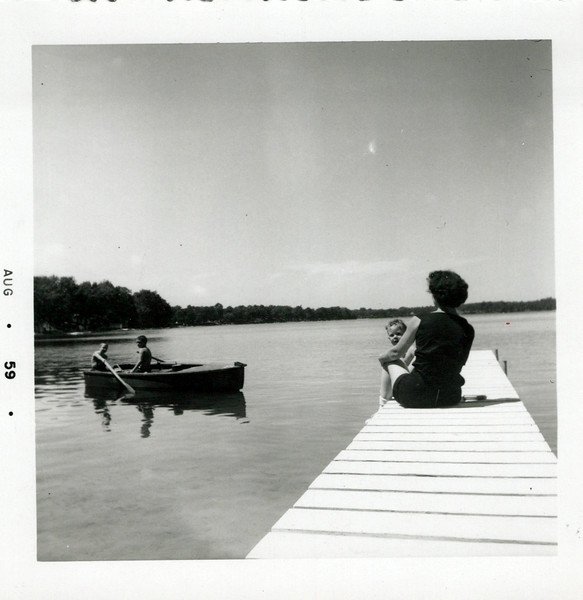1959 Viv and Kris on dock at Hollis' summer place.jpeg