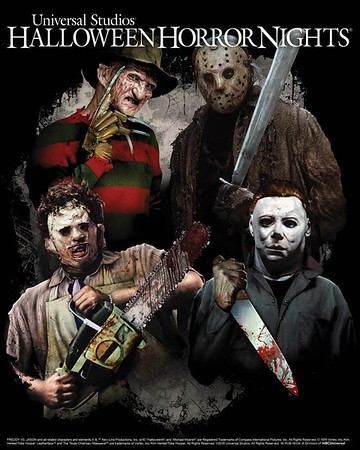 Freddy Krueger. Jason Voorhees. Leatherface. Michael Myers. Universal Studios Hollywood.
