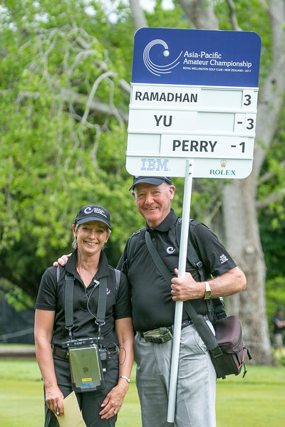 Susan Coppersmith and Rod Preston on the final day of the Asia-Pacific Amateur Championship tournament 2017 held at Royal Wellington Golf Club, in Heretaunga, Upper Hutt, New Zealand from 26 - 29 October 2017. Copyright John Mathews 2017.   www.megasportmedia.co.nz