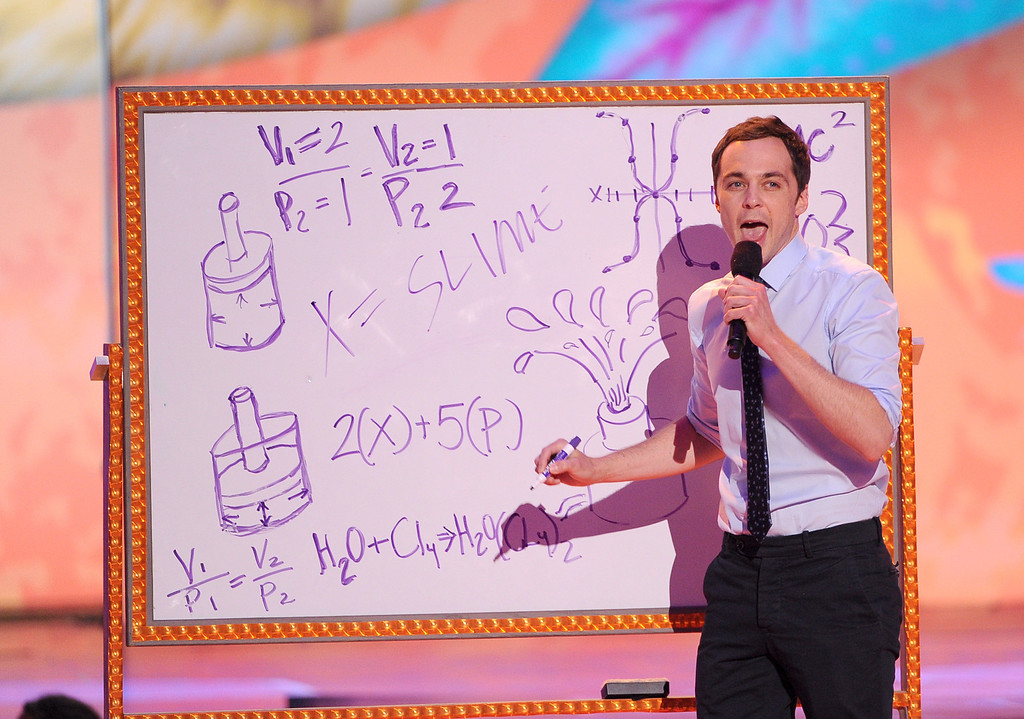 . Actor Jim Parsons onstage during Nickelodeon\'s 27th Annual Kids\' Choice Awards held at USC Galen Center on March 29, 2014 in Los Angeles, California.  (Photo by Kevin Winter/Getty Images)