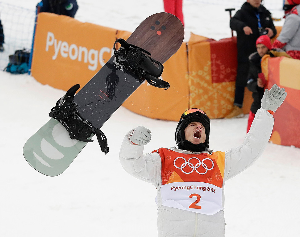 . Shaun White, of the United States, celebrates winning gold after his run during the men\'s halfpipe finals at Phoenix Snow Park at the 2018 Winter Olympics in Pyeongchang, South Korea, Wednesday, Feb. 14, 2018. (AP Photo/Gregory Bull)