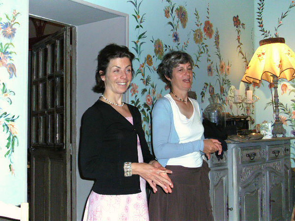 Adele and Veronique at dinner the last night at Chateau de Varenne