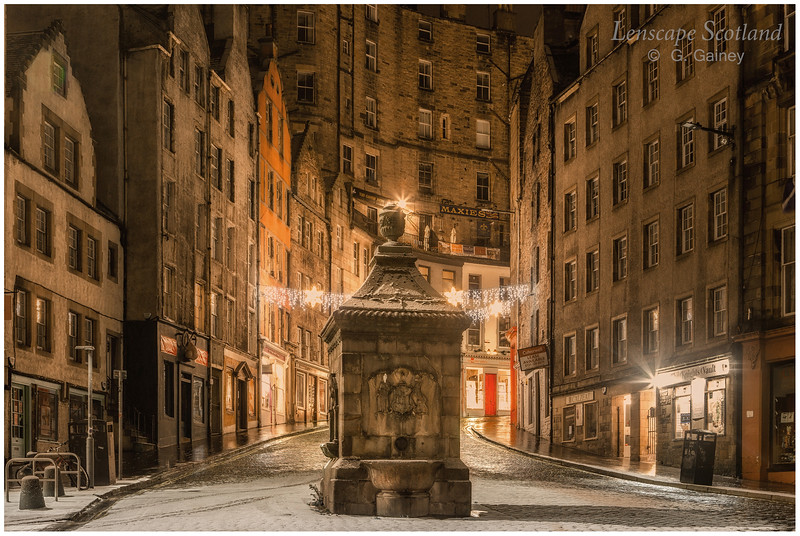 West Bow from Grassmarket at night