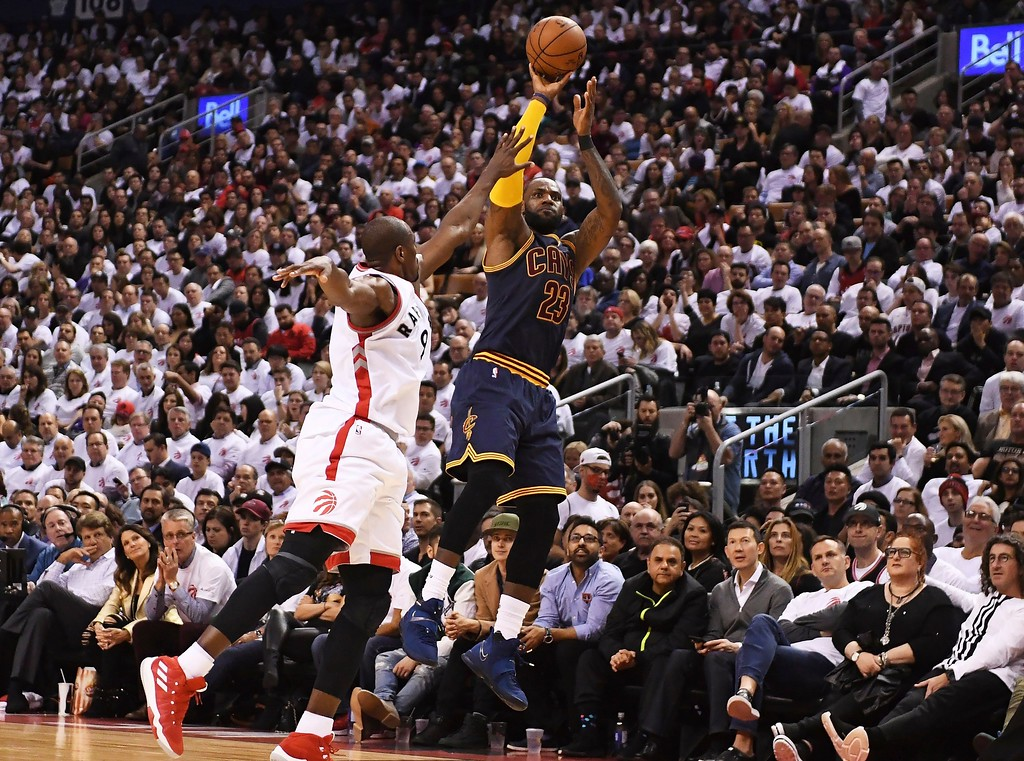 . Cleveland Cavaliers forward LeBron James (23) shoots over Toronto Raptors forward Serge Ibaka (9) during the second half of Game 3 of an NBA basketball second-round playoff series in Toronto on Friday, May 5, 2017. (Frank Gunn/The Canadian Press via AP)